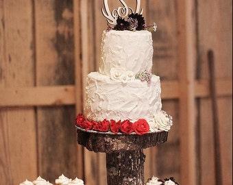Wooden Antler Cake Topper - Initial Cake Topper - Monogram Cake Topper - Rustic Wedding Cake Topper - Antler Decor