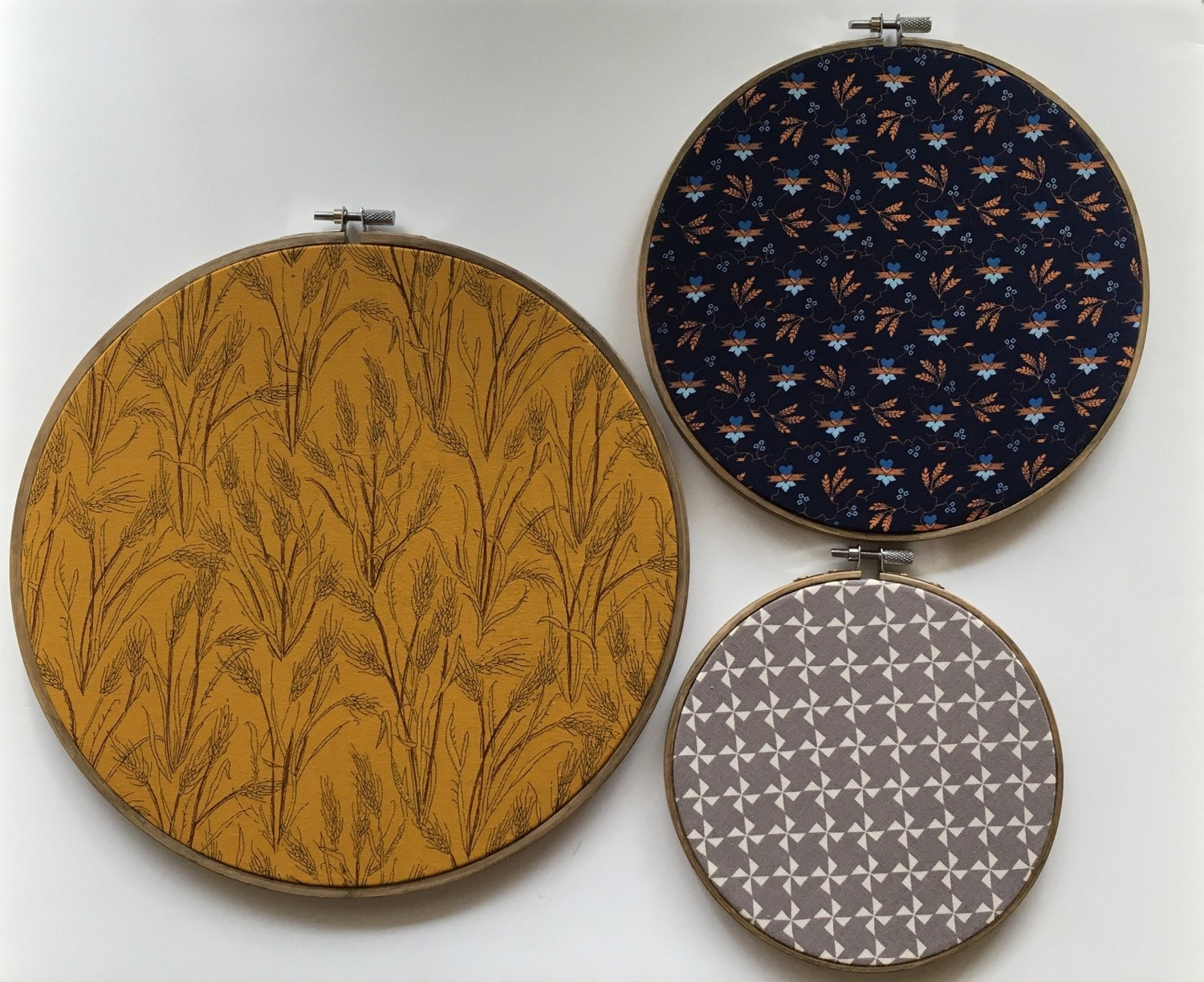 Fabric hoop art set of embroidery wheat by