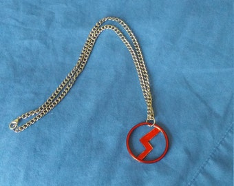 Marvel's Silk Logo Necklace Upcycled Handpainted