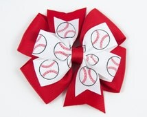 Baseball Hair Bow, Pinwheel Hair Bow, Baseball Pinwheel Bow, Sports Hair Bow, Baseball Pinwheel Hair Clip, Baseball Bow (Item #10170)