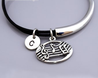 Music note bangle, Music note bracelet, soprano clef bracelet, Music charm, Musician, Leather bracelet, Leather bangle, Initial bracelet