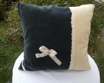 green Samtpillow - beige Cordpillow - handmade Pillow - homedecor - Decopillow