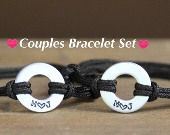 Couples Bracelet Set, Gift for Couple, Custom Washer Bracelet, Anniversary for Him, Anniversary Gift, Boyfriend Gift, His and Hers, Love