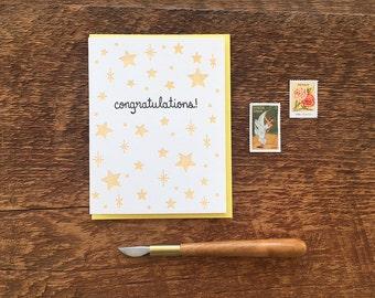 Congratulations Stars, Letterpress Note Card, Blank Inside