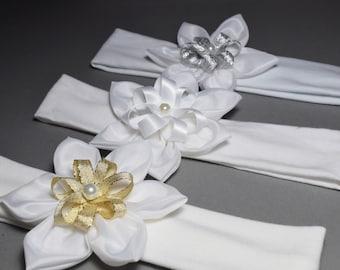 White headband for baptism creating handmade flower baby girl