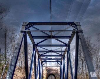 Industrial wall art, railroad bridge, Fine art print, train photography, NJ wall art, train wall art, steampunk wall art, color photography