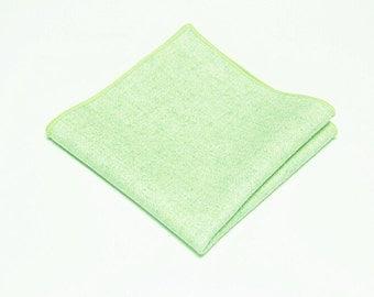Mint Green Wool Pocket Square.Wool Handkerchief.Ming Green Wedding.Gifts