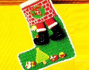 CROCHET STOCKING PATTERN Crochet Christmas Stocking Pattern Vintage 70s Santa Stocking Pattern Santa in Chimney Stocking Pattern