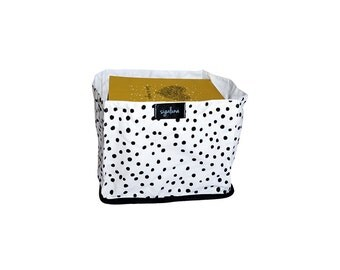 Lined Square fabric bucket, Black and White, Dots Pattern, 100% Cotton, White lining, Nordic design, Housewarming, Scandinavian design