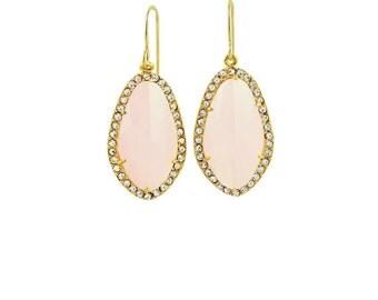 Ice Pink Earrings, Bridesmaid Earrings, Cubic Zirconia, Dangle Earrings, Simple Pink Earrings, Bridal Earrings, Bridesmaid Gift, Blush Pink