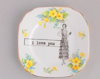 SALE! Unique and original romantic gift; upcycled vintage square Bell yellow floral china; twenties flapper lady quirky wall art;