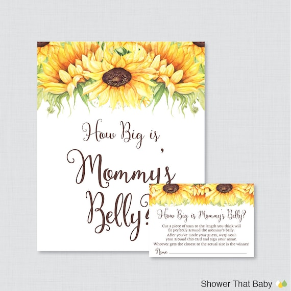 sunflower baby shower how big is mommy 39 s belly game printable baby