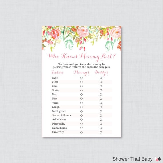 Floral Baby Shower Who Knows Mommy Best Printable Flower