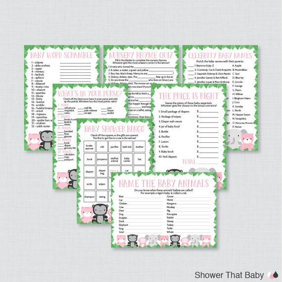 jungle theme baby shower games package seven printable games bingo