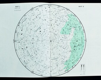1950s Vintage Star Chart of Northern Hemisphere, Astronomy Print in Green and White, Astronomical Print