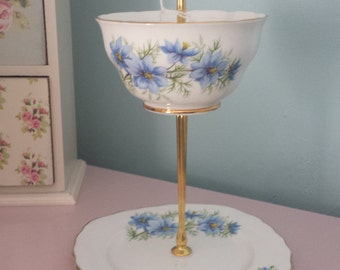 Vintage cake stand, jewellery stand, vintage china 2 tier stand, mad hatter style, tea party, wedding, home decor, gift for her.