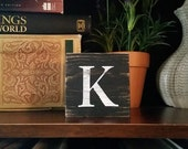 K, Letter K, Mini Letter Sign, Mini Monogram Sign, Mix Match Blocks, Choose Your Own Word(s), Choose Your Own Block(s), Distressed Letters