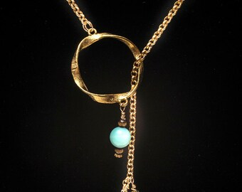 Lariat necklace, aquamarine lariat  necklace, chain necklace, turquoise necklace