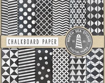 BUY 5 GET 3 FREE Chalk Digital Paper Polkadots Chevron Stripes Triangle Quatrefoil Chalkboard Texture Chalkboard Patterns Blackboard
