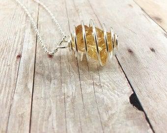 Raw Citrine Necklace, November Birthstone, Citrine Pendant, Citrine Jewelry, Gemstone Necklace, Healing Stone, Silver Pendant Necklace