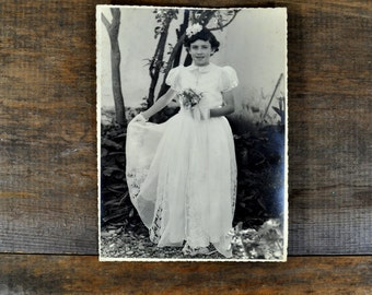 Antique Photo Black and White Photography Portrait First Communion Religious