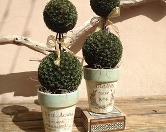 French Vintage Advertising Label Flower Cache Pot Rustic French Country Shabby Chic Farmhouse Decor Garden Pot/ Paris Aqua Grain Sack Patina