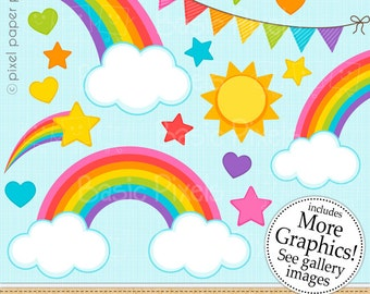 Sweet Rainbow - Digital Clip Art - Rainbow clipart for Personal and commercial use
