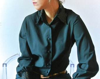 1960 Black Collar Button Front with Sequins