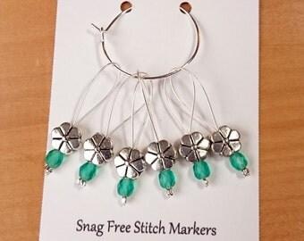 Knitting Stitch Markers, Snag Free Beaded Knitting Stitch Markers, Set of 6 silver plated Flower Bead stitch markers