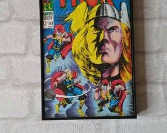 Super Hero Wall Art with Vintage Style Comic Print of Thor