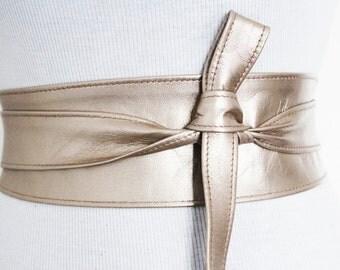 Light Gold Leather Obi Belt | Waist Corset Belt | Bridesmaid Sash | Leather Gold Belt | Plus Size | ready to ship