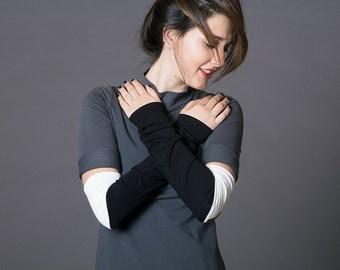 Fingerless gloves, Thumbhole Arm Warmers, M-Sleeves