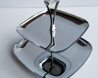 Vintage 2-Tiered Chrome Serving Tray