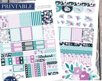 April printable planner stickers for April vertical Erin Condren planner, Plum Paper, Inkwell Press planner in lilac, blue and robin egg.