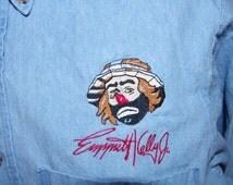90's emmett kelly jr sad clown denim oxford shirt