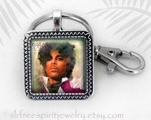 Prince Jewelry, Prince Photo Image Key Chain, Musicians, Purple Rain, Rock n Roll, Rock Star, Purple Rain, death of Prince, Prince Fan