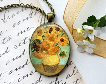 Van Gogh Sunflowers Necklace, Van Gogh Sunflower Painting, Art Jewelry, Famous Artist Jewelry, Photo image Pendant, Mother's day Gift