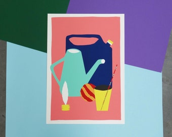 Colorful screenprint of a stil life including a jianzi