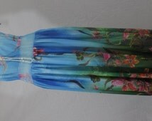 Summer Dress, New Elegant Flowers Print Light Blue Chiffon Evening Maxi Dress, Full Lenght