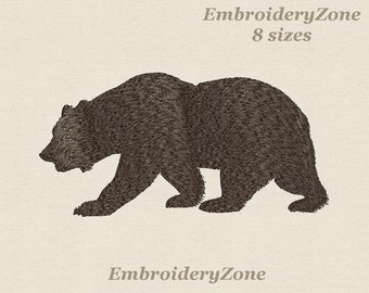 The silhouette of the bear is a symbol of the U.S. state of California machine Embroidery design 9 sizes Hoop 4x4 5x7 6x10 7x11