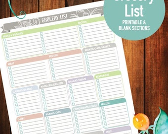 Printable Grocery List, Printable, Shopping, Meal, Customizable, 8.5x11  (FLORAL BANNER)