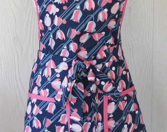 Womens Floral Apron, Retro Apron, 50s, Navy and Pink, Vintage Inspired, Bib Apron, KitschNStyle