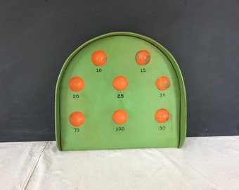 Vintage Large Wood Skee Ball Game - Game Board - Wall Hanging - Ball Bowling Game - Wooden Game - Golf Putting