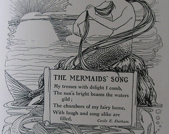 The MERMAIDS SONG - Vintage Childrens Print 1918 - Mermaid upon a Rock - Fish - Sea Scene - Ruth Cobb - Matted - Ready to Frame
