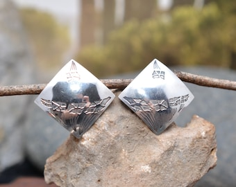 Modern Square Sterling Silver Flower Post Earrings