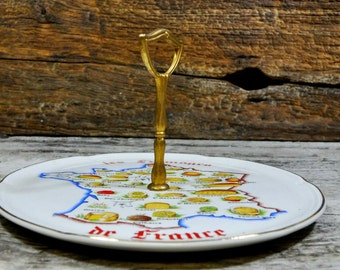 French Vintage Cheese Platter with handle and Great Illustrations