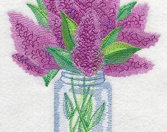 WATERCOLOR LILACS In Mason Jar BOUQUET of Flowers Lilac Arrangement Machine Embroidered Quilt Square, Art Panel