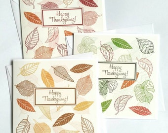 Thanksgiving Cards Set, Autumn Set of Cards For Friends, Give Thanks Colourful Cards, Unique Thanksgiving Card Leaf Pattern