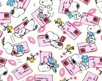 Peanuts Valentine Fabric  - Snoopy Valentines Day Card SWAK Woodstock Ivory  - Out Of Print OOP VHTF