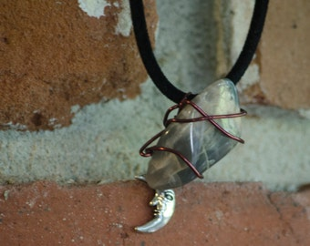 Wire Wrapped Moonstone Necklace w/ Moon Charm